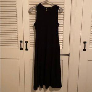 Ann Taylor black midi flare dress